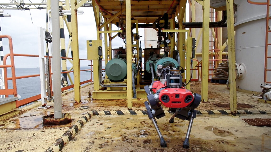 ANYmal C legged robot performing routine inspection on Petronas' offshore oil & gas plant