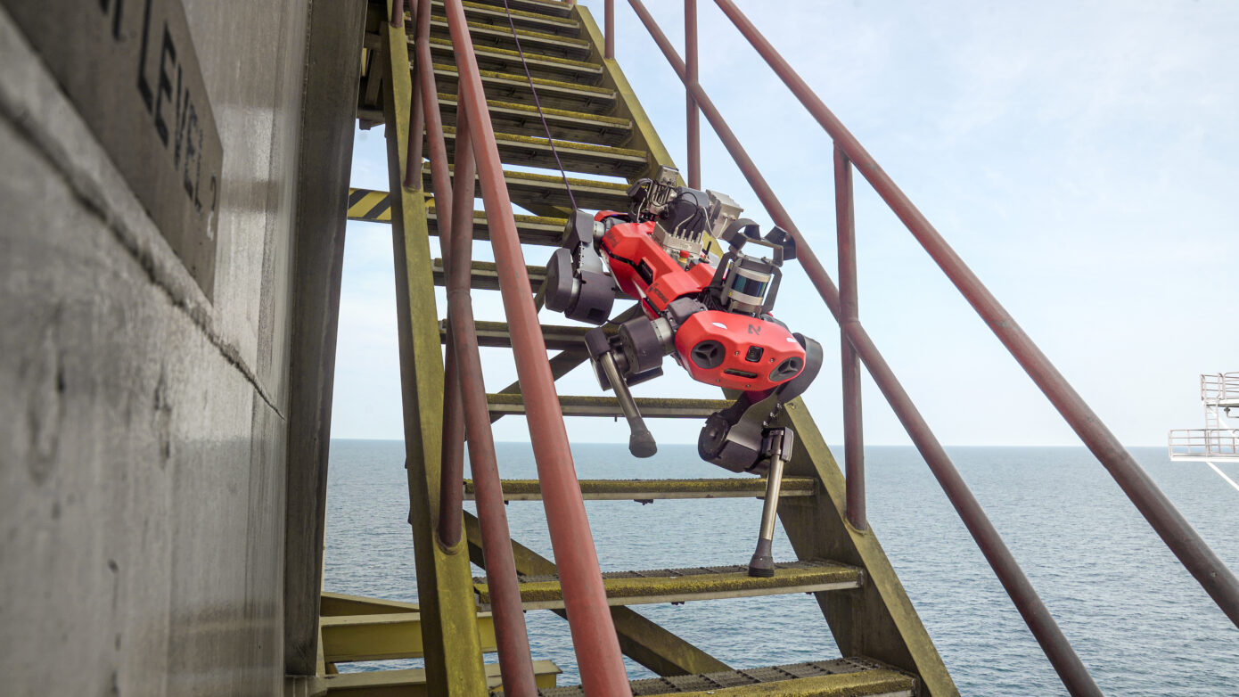 ANYmal C legged robot climbing stairs on Petronas' offshore oil & gas plant