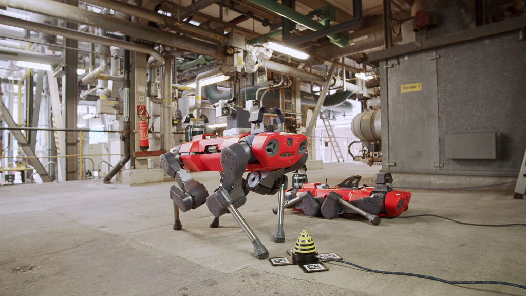 Autonomous robots fleet (ANYmal) with automatic charging at BASF chemical plant